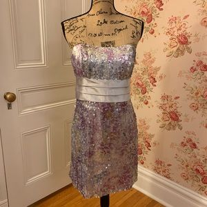 David's Bridal Purple Sequin Formal Dress